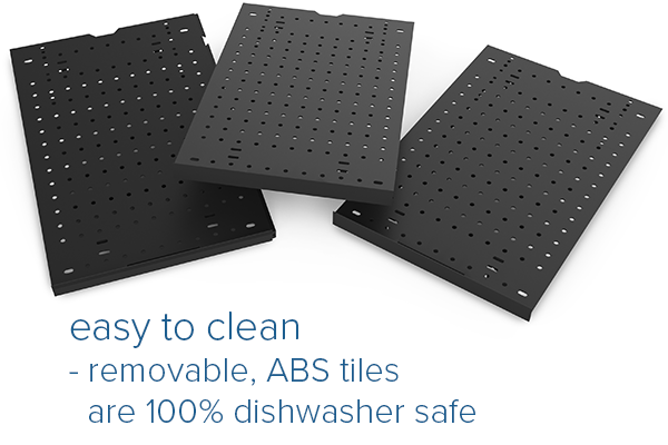 Easy to clean tiles are dishwasher safe