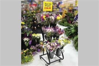 Black Six-Vase Flower Cart