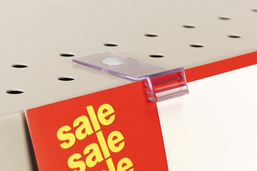 119 SuperGrip® Flush Sign Holder for Perforated Shelves