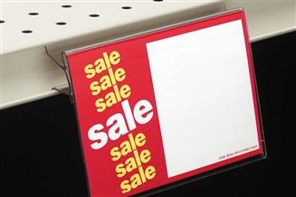 BS2020 Clear Covered-Face Sign Holder, Below Shelf Mount