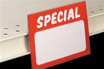 CS2020 Econo Covered-Face Sign Holder, Center Shelf Mount