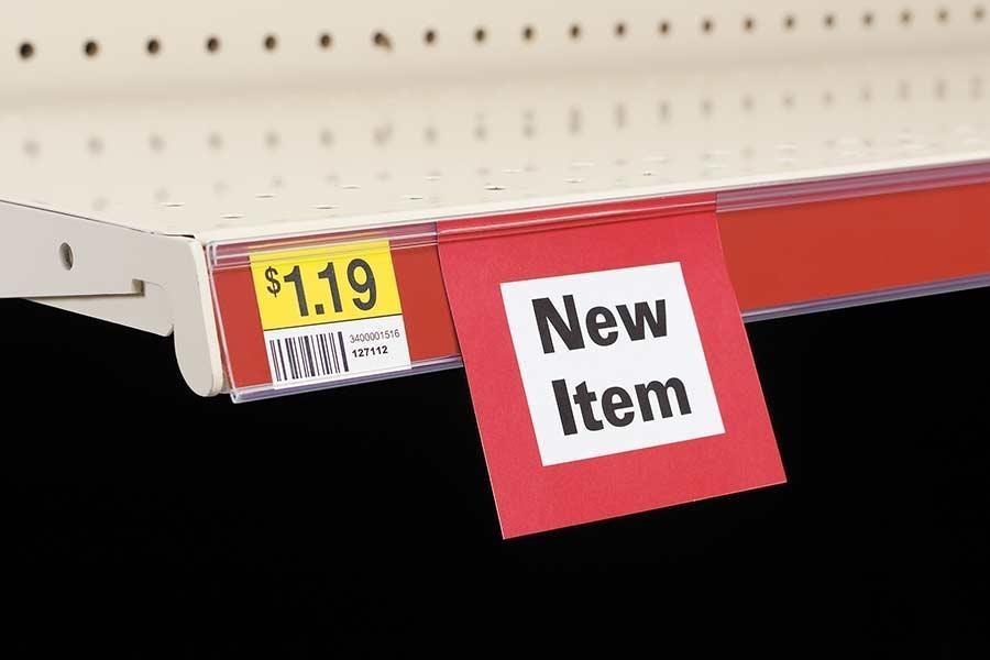 Clip-On Data Strip® SuperGrip® Label Holder for Shelf Channel