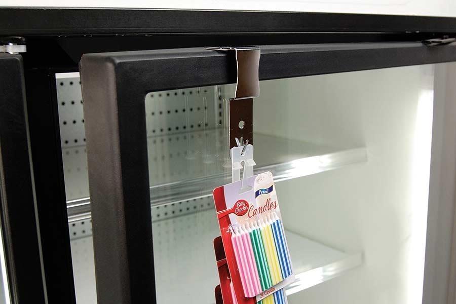 Merchandising Strip Hanger for Cooler Door