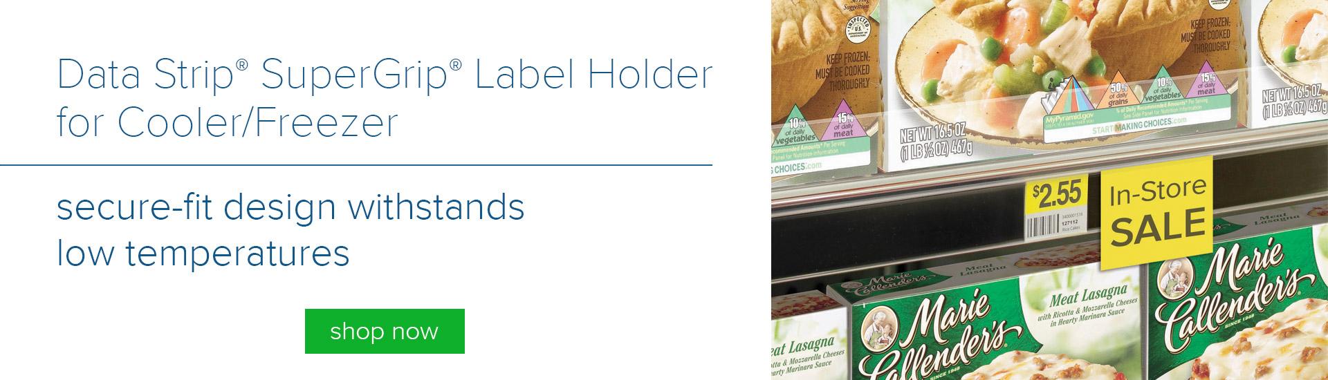 Data Strip Super Grip Label Holder for Cooler and Freezer