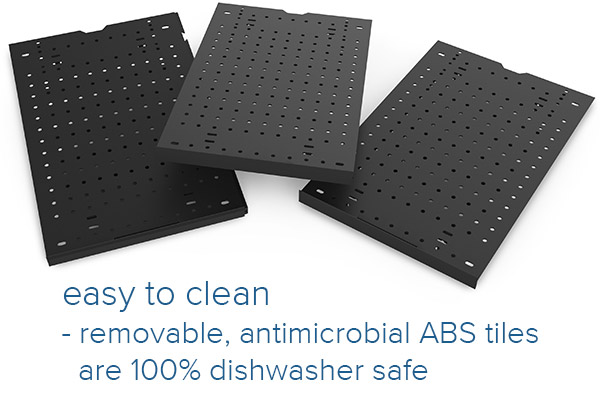 Easy to clean antimicrobial tiles are dishwasher safe